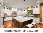 large kitchen interior with... | Shutterstock . vector #347567885