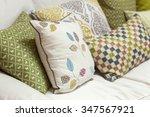 cushion kept on sofa in living... | Shutterstock . vector #347567921
