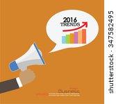 2016 trends.hand with megaphone ... | Shutterstock .eps vector #347582495