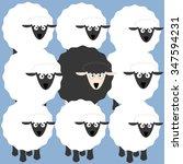 Black And White Sheep Cartoon...