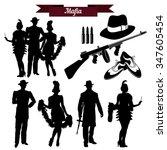 Vector set of silhouettes in retro 1930s. Mafia theme, gangsters retro 1930s style.
