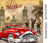mexico retro poster. | Shutterstock .eps vector #347623769