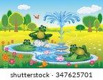 Vector Landscape With Cartoon...