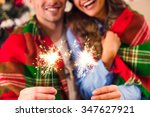 young happy couple during the... | Shutterstock . vector #347627921