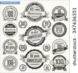 anniversary retro badges... | Shutterstock .eps vector #347636351