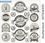 anniversary retro badges... | Shutterstock .eps vector #347636354