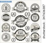 anniversary retro badges... | Shutterstock .eps vector #347636387
