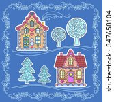 christmas stickers  element for ... | Shutterstock .eps vector #347658104
