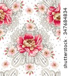 seamless pattern of peony... | Shutterstock .eps vector #347684834