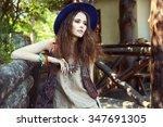 outdoor fashion portrait of... | Shutterstock . vector #347691305