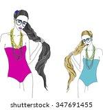 girls in swimsuit fashion | Shutterstock .eps vector #347691455