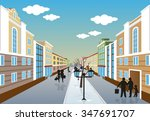 illustration of a city street... | Shutterstock .eps vector #347691707
