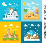 flat design travel seasons set... | Shutterstock .eps vector #347706461