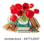 still life with tulip flowers ... | Shutterstock . vector #347712047