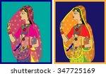 indian queen  princess portrait ... | Shutterstock .eps vector #347725169