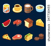 game icons set different food...