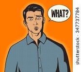 surprised man pop art retro... | Shutterstock .eps vector #347737784