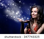 young woman catches star rain... | Shutterstock . vector #347743325