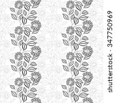 seamless monochrome floral... | Shutterstock . vector #347750969