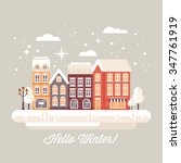 winter town landscape with... | Shutterstock .eps vector #347761919