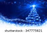 shining blue christmas tree | Shutterstock . vector #347775821