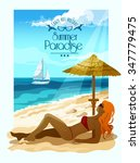 seascape poster with woman on... | Shutterstock .eps vector #347779475
