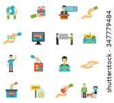 charity icons set with... | Shutterstock .eps vector #347779484