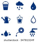 set blue isolated watering... | Shutterstock .eps vector #347813249