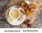 a white cup of green natural... | Shutterstock . vector #347816294