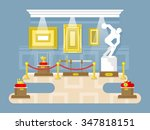 museum flat design. exhibition... | Shutterstock .eps vector #347818151