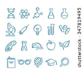 Vector outline icons set and design elements. Research, technologies and innovation symbols. Line logo collection. Concept for science, education, medical, chemical industry themes.