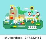 kindergarten flat design. child ... | Shutterstock .eps vector #347832461