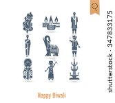 diwali. indian festival icons.... | Shutterstock . vector #347833175