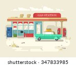 gas station retro flat design.... | Shutterstock .eps vector #347833985