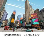 city hand drawn unique... | Shutterstock .eps vector #347835179