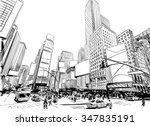 city hand drawn unique... | Shutterstock .eps vector #347835191
