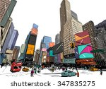 city hand drawn unique... | Shutterstock .eps vector #347835275