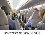 interior of airplane with... | Shutterstock . vector #347837381