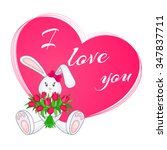 cute little bunny with bouquet... | Shutterstock .eps vector #347837711