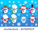 set of cute snowmen wearing... | Shutterstock .eps vector #347839019