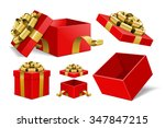 red gift boxes and with golden... | Shutterstock .eps vector #347847215