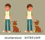 boy with dog on a leash | Shutterstock .eps vector #347851349
