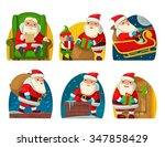 santa claus and elf. set flat... | Shutterstock .eps vector #347858429