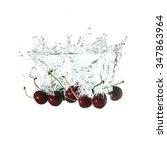 cherries splash on water ... | Shutterstock . vector #347863964
