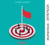 goal achievement flag rising...   Shutterstock .eps vector #347874224