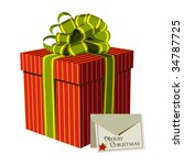 Red gift box with green ribbon and Xmas card. White background. Vector available - stock vector
