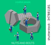 nuts and bolts flat 3d isometry ... | Shutterstock .eps vector #347881181