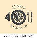 dinner time illustration.fried... | Shutterstock .eps vector #347881775