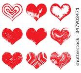 set of hand drawn vector heart. ... | Shutterstock .eps vector #347903471