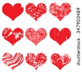 set of hand drawn vector heart. ... | Shutterstock .eps vector #347903489